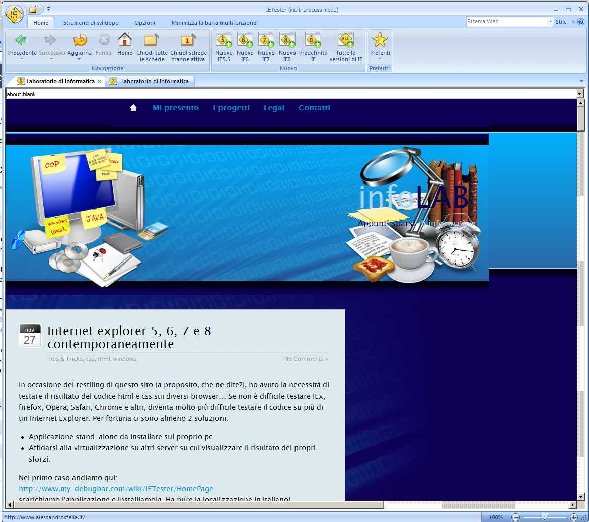 Internet explorer 5, 6, 7 e 8 contemporaneamente