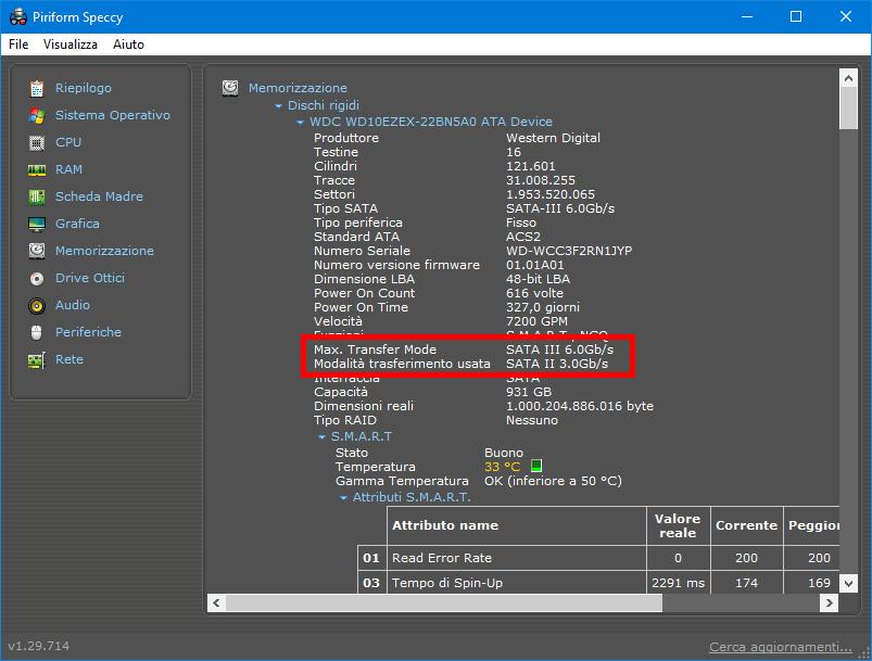 Scoprire la versione SATA del PC