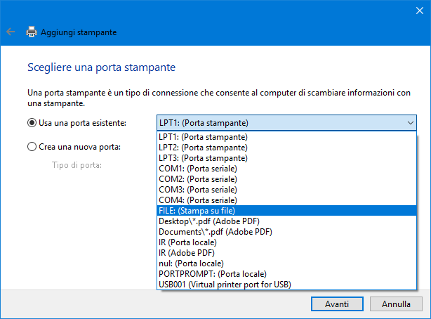 Microsoft print to PDF e stampanti windows