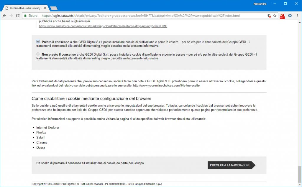 GDPR LaRepubblica informativa privacy