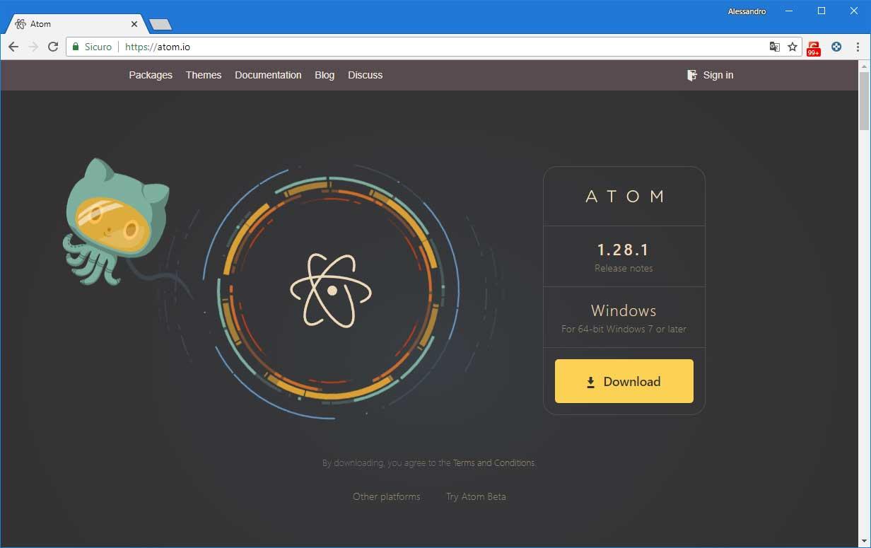 creare un sito web - IDE_atom